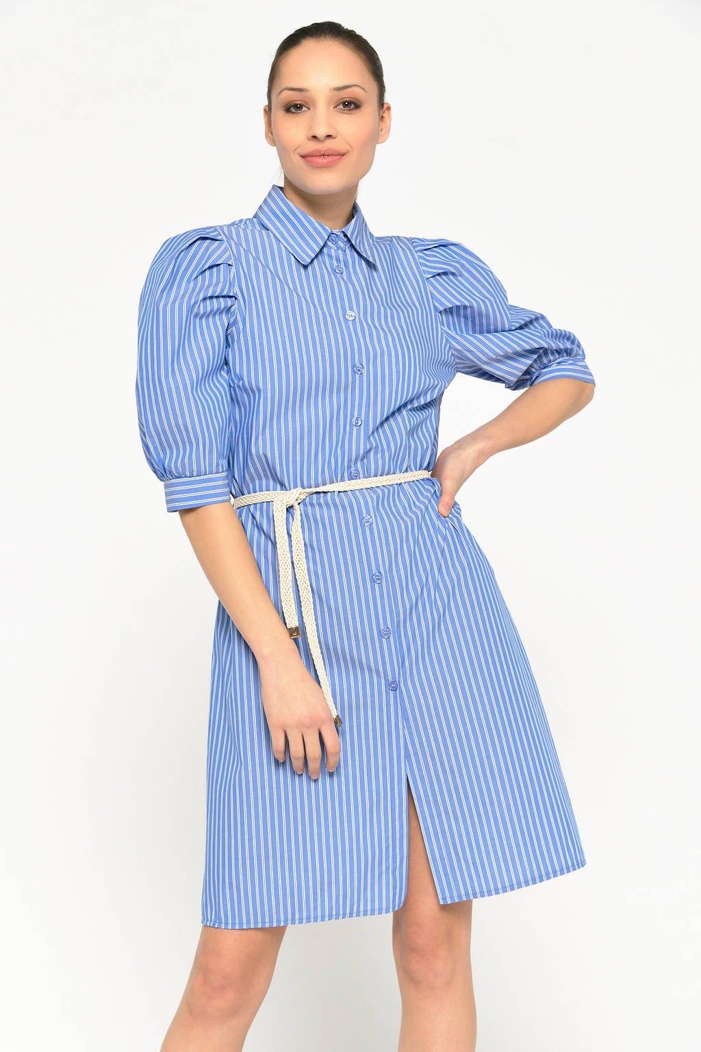LOLALIZA gestreepte blousejurk blauw/wit, Blauw/wit