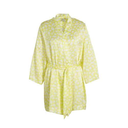 C&A kimono met all over print geel