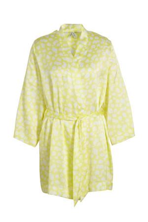kimono met all over print geel