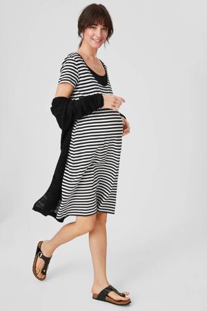gestreepte zwangerschapsjurk zwart/wit