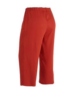 high waist loose fit broek donkerrood