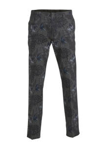 C&A Angelo Litrico slim fit pantalon met all over print donkerbruin, Donkerbruin