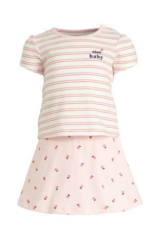 T-shirt + rok roze