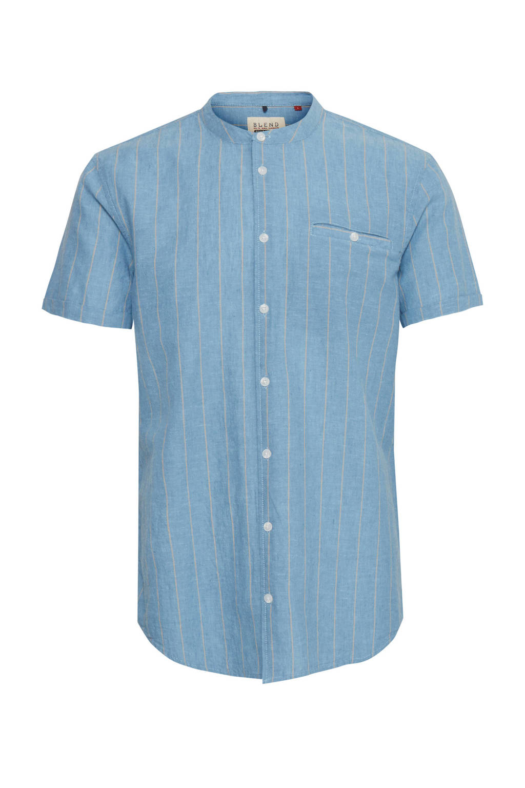 Blend Big gestreept regular fit overhemd met linnen blauw, Blauw