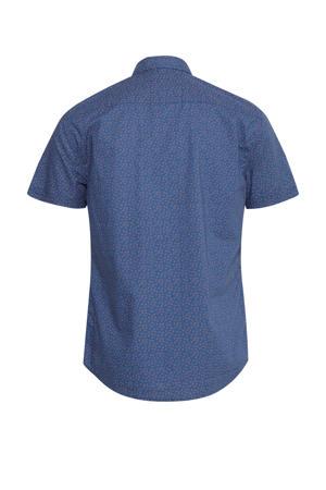 regular fit overhemd met all over print donkerblauw/oranje