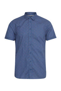 Blend Big regular fit overhemd met all over print donkerblauw/oranje, Donkerblauw/oranje