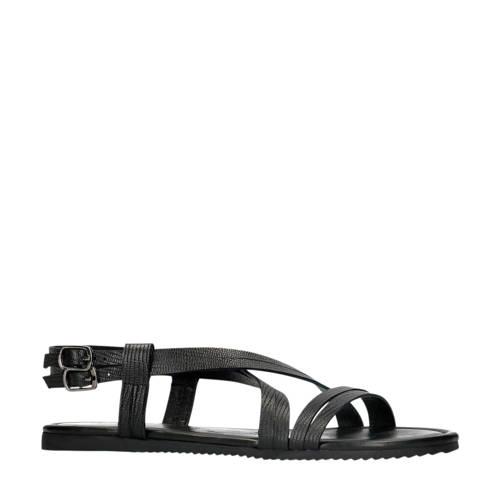 Manfield leren sandalen zwart