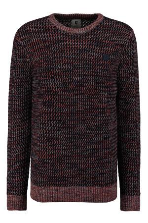 gemêleerde grofgebreide trui donkerblauw/oranje
