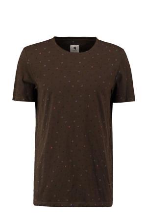 T-shirt met all over print legergroen