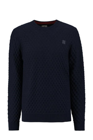 grofgebreide trui donkerblauw