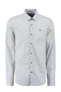 Garcia regular fit overhemd met all over print lichtblauw, Lichtblauw