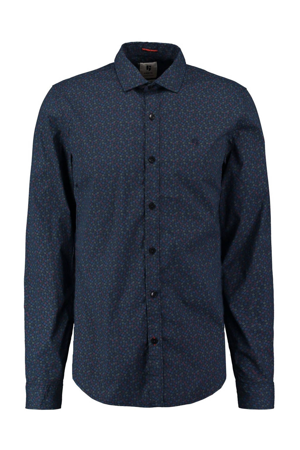 Garcia regular fit overhemd met all over print donkerblauw, Donkerblauw