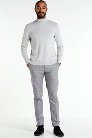 gemêleerde slim fit pantalon met wol zwart