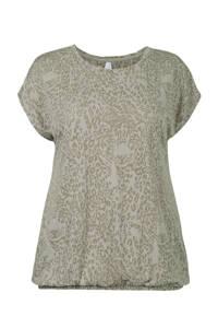 Miss Etam Plus T-shirt met dierenprint olijfgroen/wit, Olijfgroen/wit