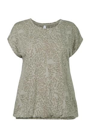 T-shirt met dierenprint olijfgroen/wit