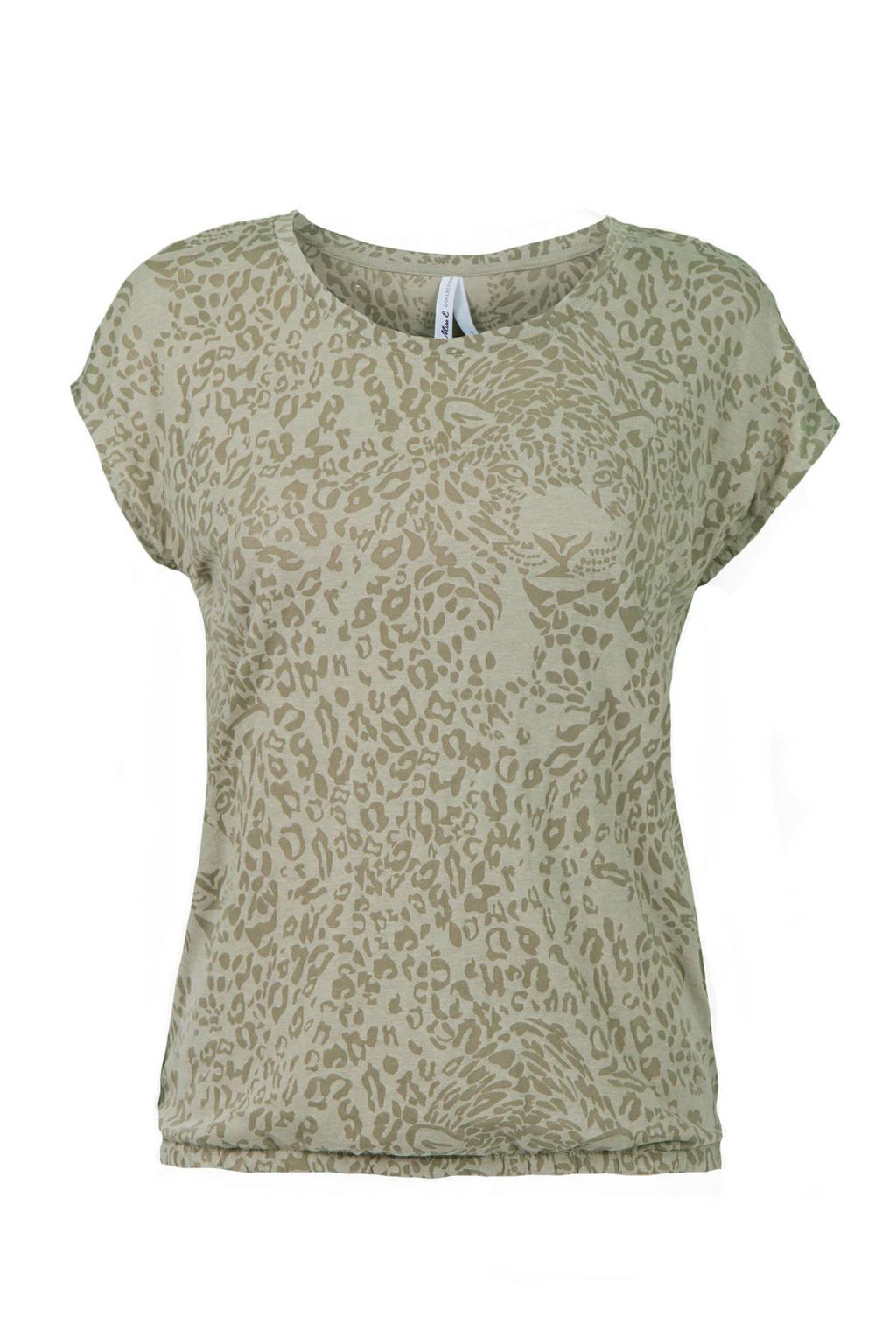 Miss Etam Regulier T-shirt met panterprint bruin, Groen/donkergroen