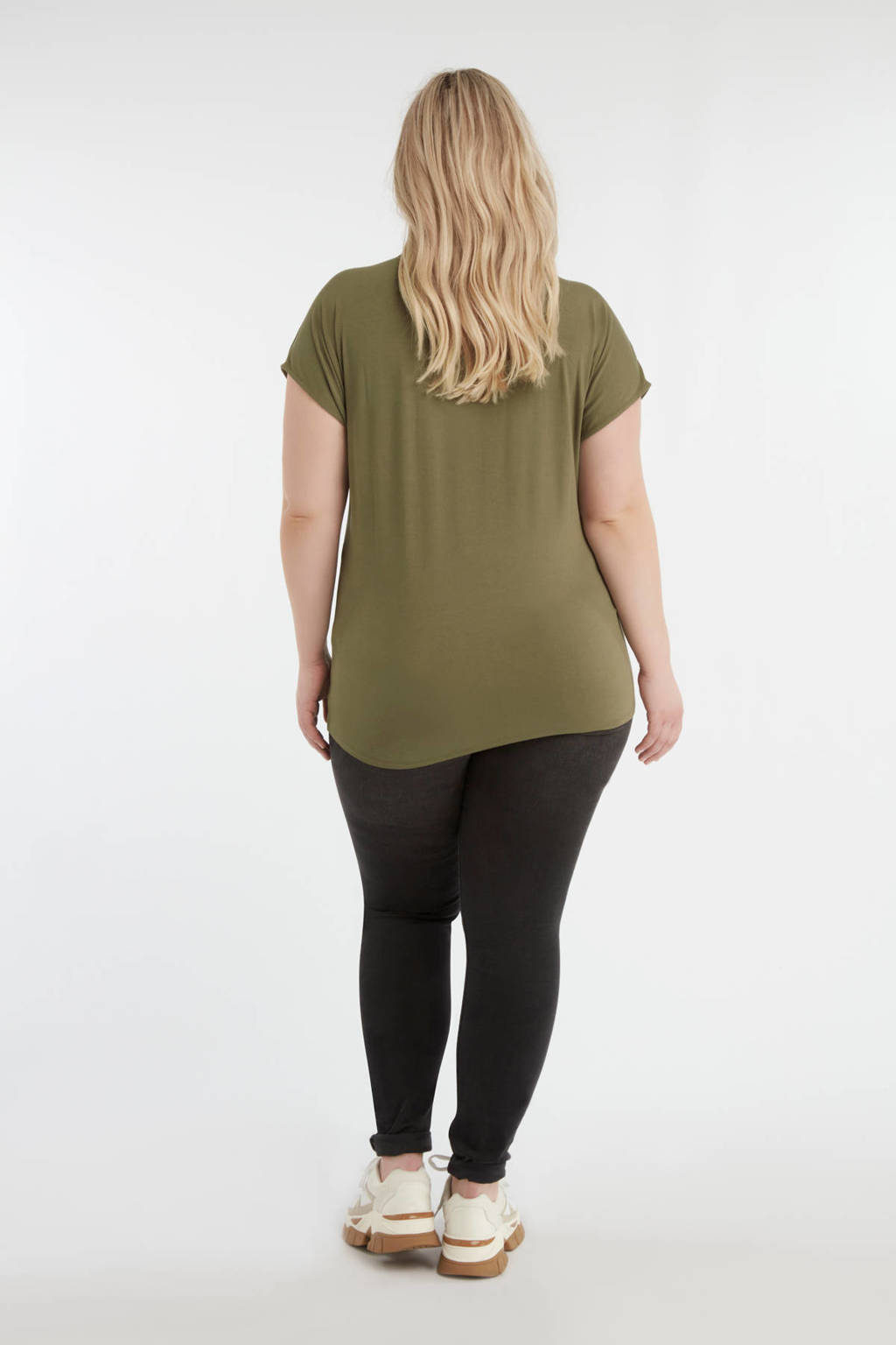 MS Mode top met bladprint olijf groen, Olijf groen