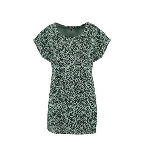 MS Mode T-shirt met all over print groen/zwart