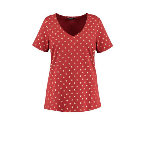 MS Mode T-shirt met all over print steen rood