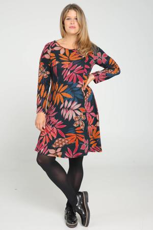 A-lijn jurk met bladprint zwart/rood/oranje