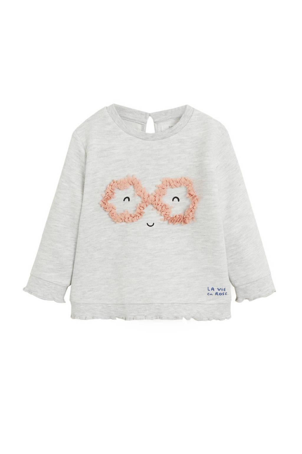Mango Kids sweater met printopdruk en volant lichtgrijs melange, Lichtgrijs melange