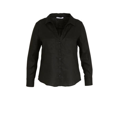 Violeta by Mango linnen blouse zwart