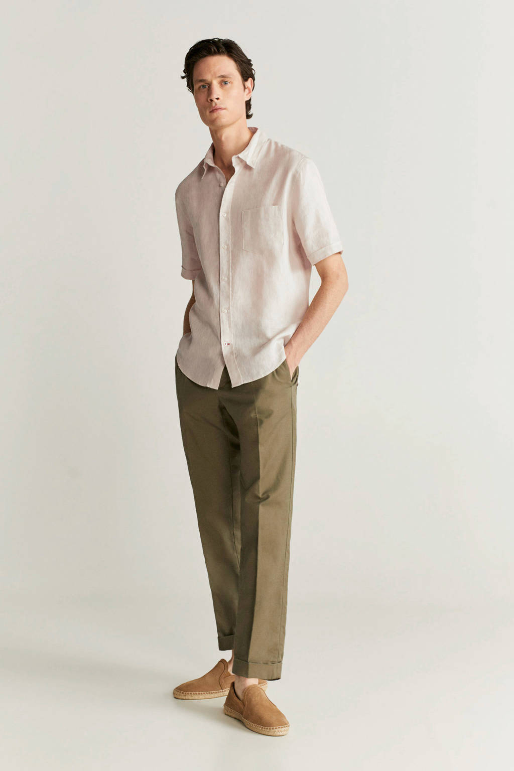 Mango Man linnen regular fit overhemd beige, Beige