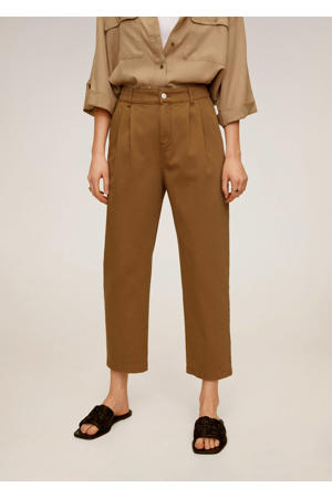 cropped high waist straight fit broek bruin