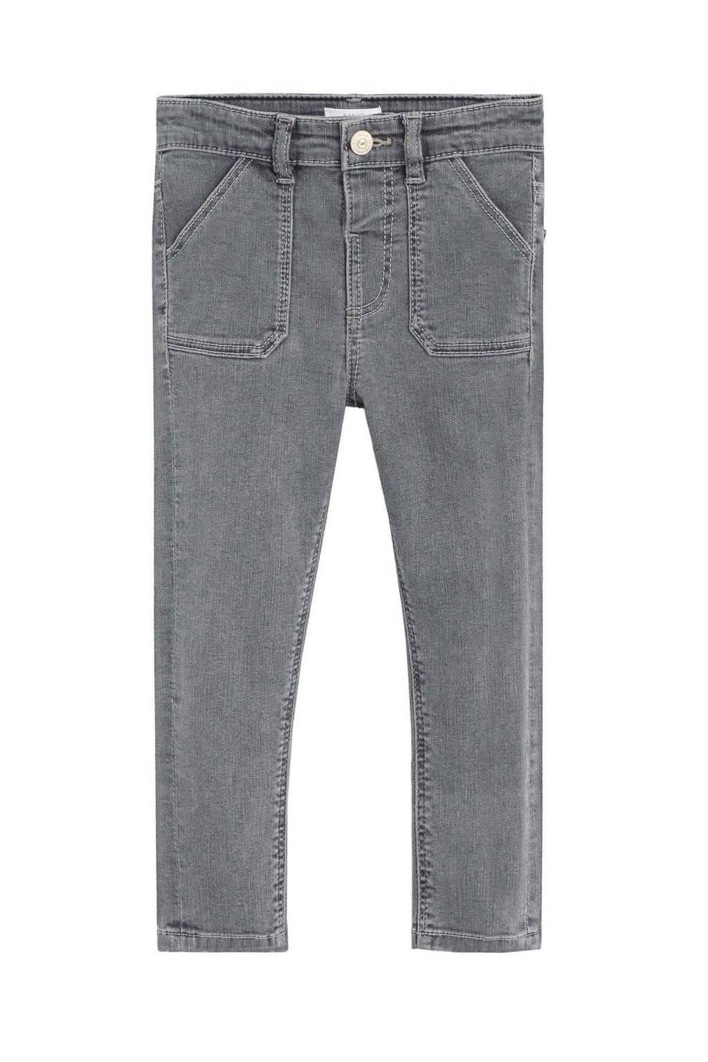 Mango Kids straight fit jeans grijs, Grijs