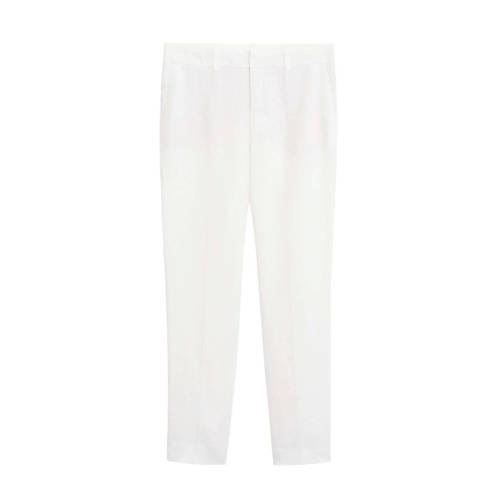 Mango linnen slim fit pantalon wit