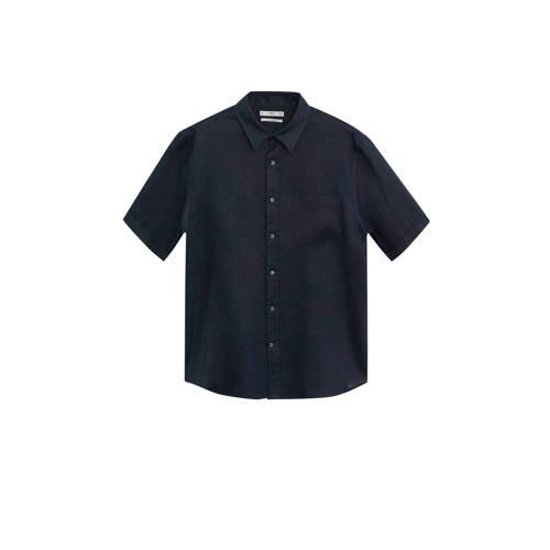 Mango Man linnen regular fit overhemd marine
