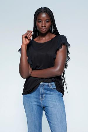 T-shirt en kant zwart