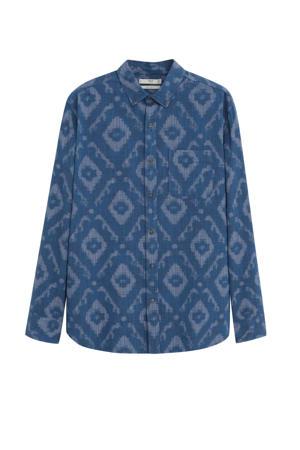 slim fit overhemd met all over print middenblauw