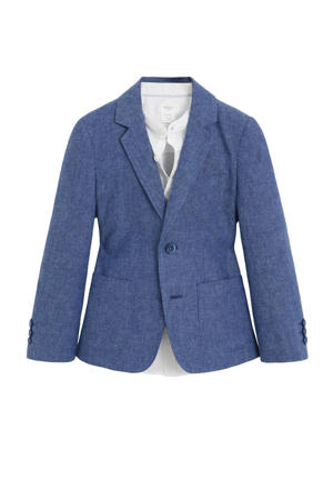 linnen colbert blauw