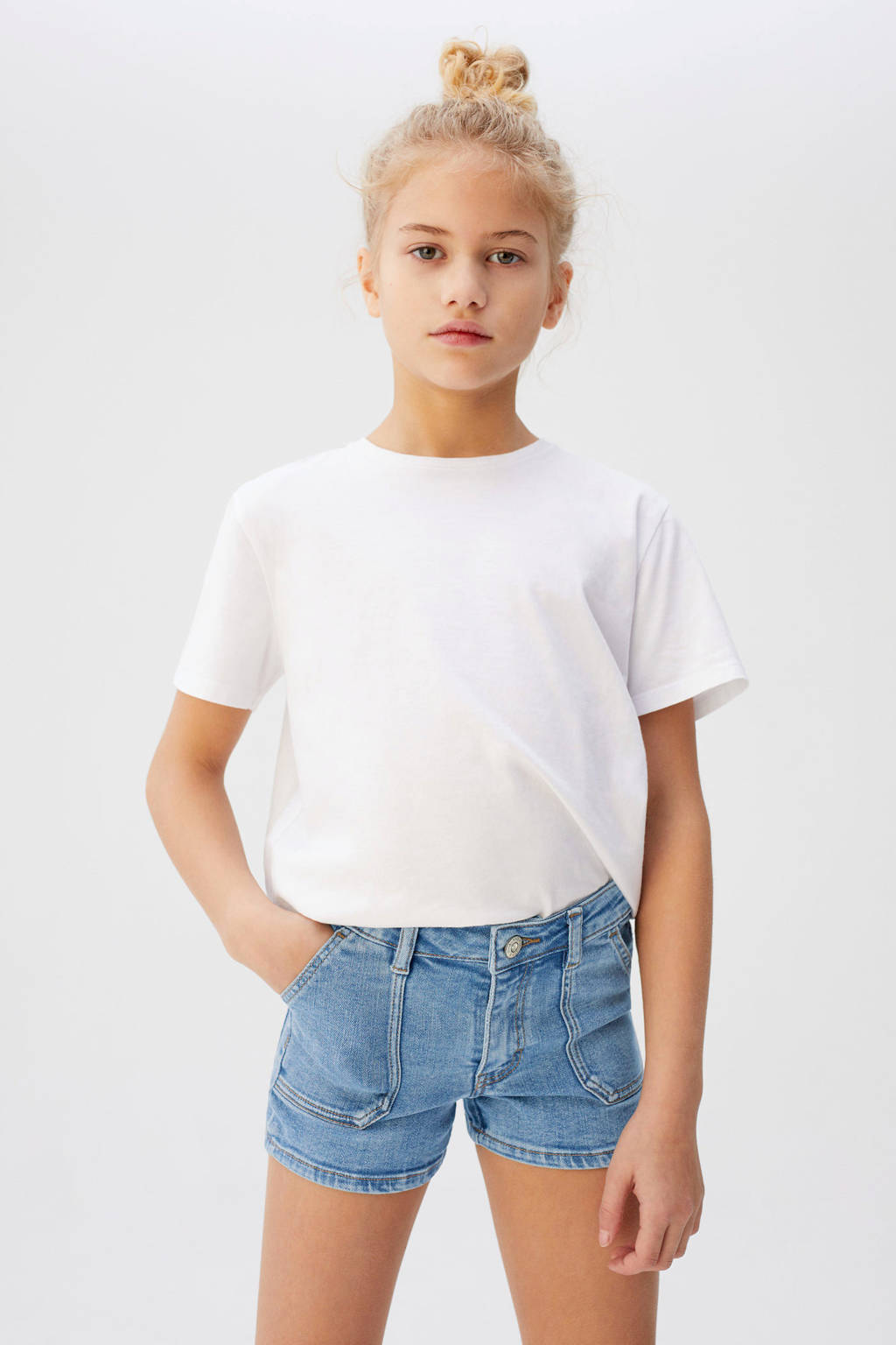 Mango Kids jeans short light denim, Light denim