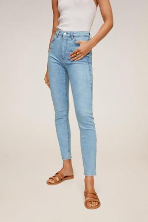 high waist skinny jeans light blue denim