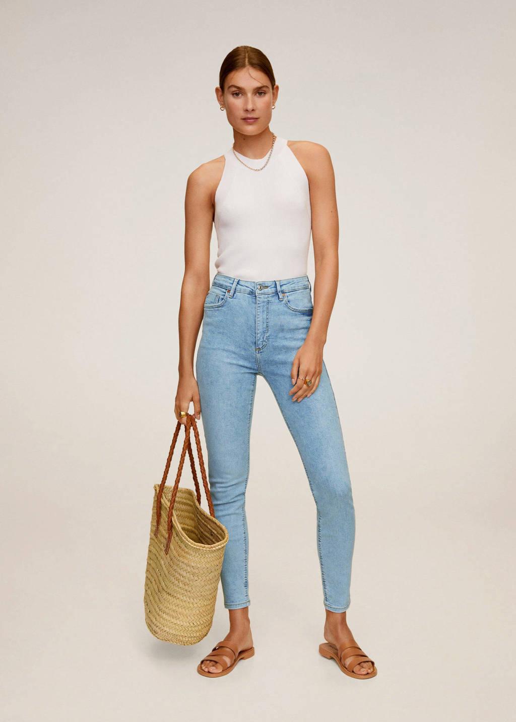 Mango high waist skinny jeans light blue denim, Light blue denim