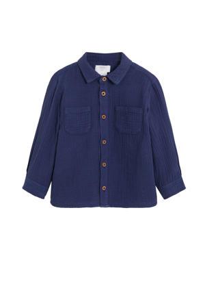 overhemd en textuur donkerblauw