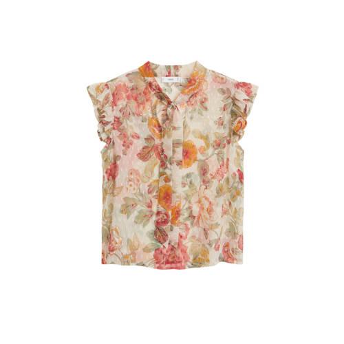 Mango blouse met all over print naturel wit