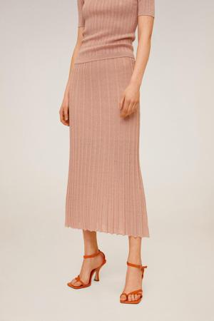 gebreide rok pastelroze