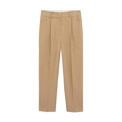 Mango cropped straight fit pantalon beige