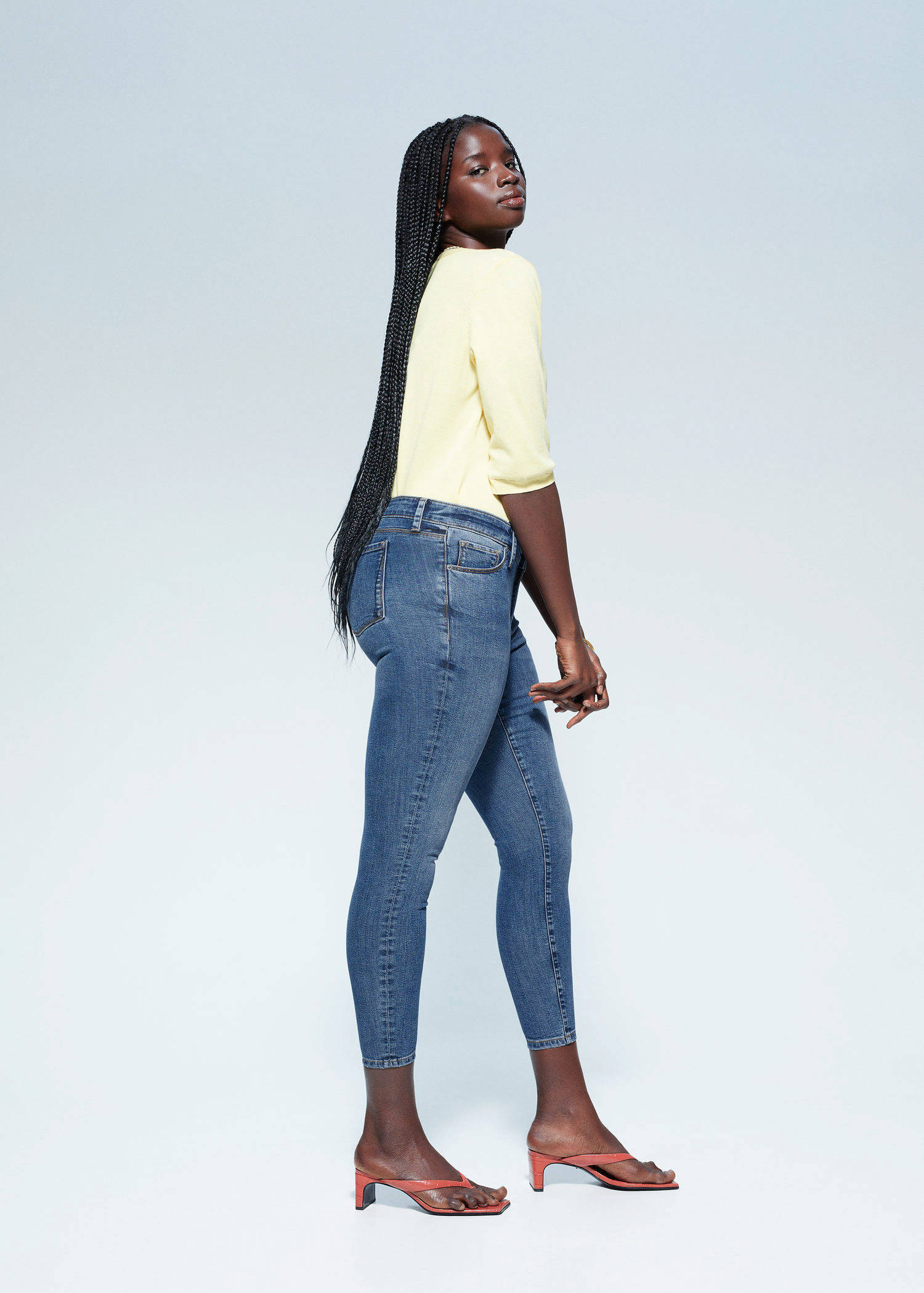 Violeta by Mango low waist skinny jeans medium blue