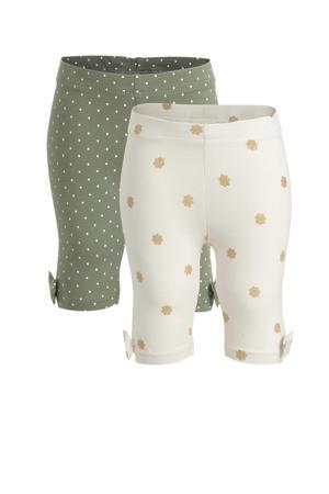 baby legging met biologisch katoen - set van 2 olijfgroen/wit