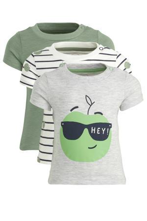 T-shirt - set van 3 grijs/ecru/groen