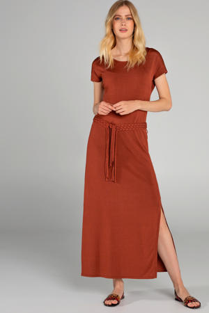 jersey jurk brique