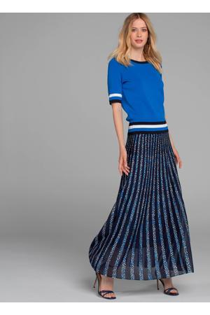 fijngebreide rok met all over print marineblauw