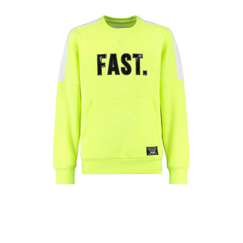 CoolCat Junior sweater Sonnie met tekst geel/zwart