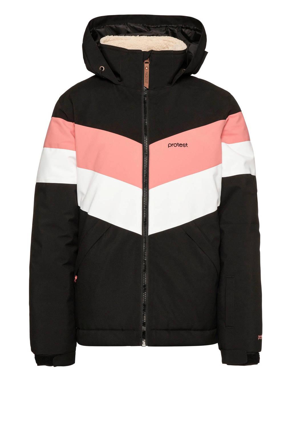 Protest Fudge JR ski-jack, Zwart/roze/wit