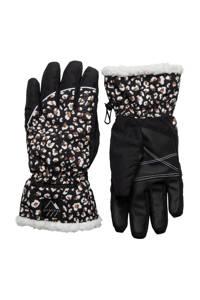 Protest skihandschoenen met panterprint Lilly zwart/wit, Zwart/wit