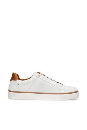 nubuck sneakers wit/cognac